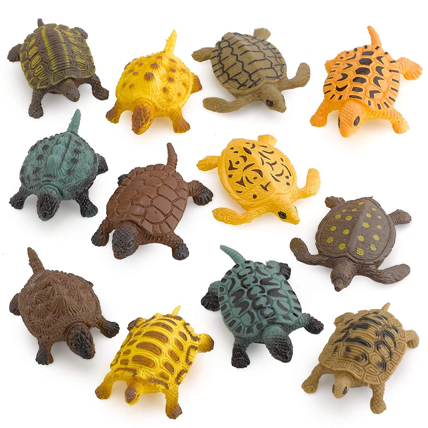 Amazon Com Kicko Small Turtle Baby Bath Toys 12 Pieces Of Assorted Plastic Tortoises Ponds And Aquarium Decorations Indoor And Outdoor Accents Kids Pet Collection Party Favors Toys Games