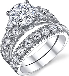 Solid Sterling Silver 925 Engagement Ring Set Bridal Rings with Cubic Zirconia