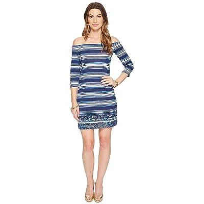 Lilly Pulitzer Laurana Off The Shoulder Dress (High Tide Navy Surf Sayulita Shell Stripe Engineered) Women