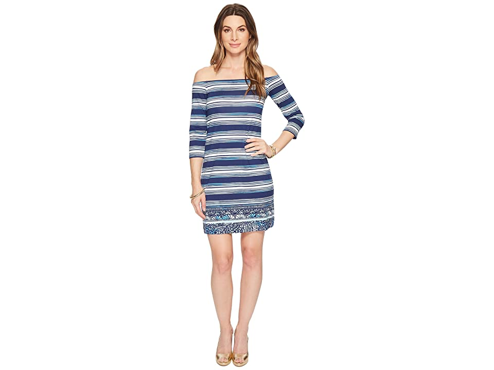 Lilly Pulitzer Laurana Off The Shoulder Dress (High Tide Navy Surf Sayulita Shell Stripe Engineered) Women