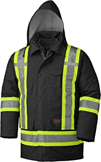 Pioneer V1120470-XS Winter 6-in-1 Parka Jacket - 100% Waterproof hi-viz Rainwear, Black, XS
