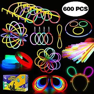 Glowstick, (600 Pcs Total) 250 Glow Sticks Bulk 7 Colour and Connectors for Bracelets Necklaces Balls Eyeglasses and More,...
