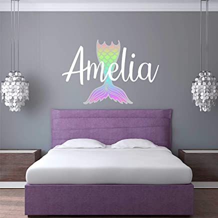 Custom Name Mermaid Nursery Wall Decal - Girls Personalized Name Mermaid Wall Sticker - Custom Name Sign - Custom Name Stencil Monogram - Girls Nursery Wall Decor