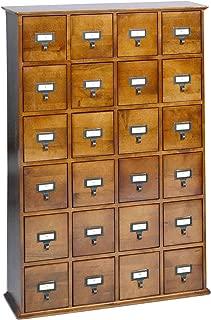 Leslie Dame Solid Oak Library Card File Media Cabinet, 24 Drawers, Walnut