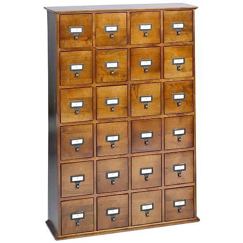 Leslie Dame CD 456W Solid Oak Library Card File Media Cabinet, 24 Drawers,