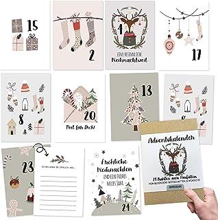 Papierdrachen Kalendarz adwentowy do majsterkowania i na prezent, 24 karty do tworzenia dekoracji, pomysł na prezent w okr...
