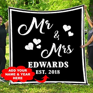 Personalized Custom MR AND MRS PERSONALIZED BLANKET WITH NAME AND WEDDING Quilt Blankets Customized Christmas Birthday Wedding Anniversary Engagement Custom Fiancee Gifts from Electrical Journeyman
