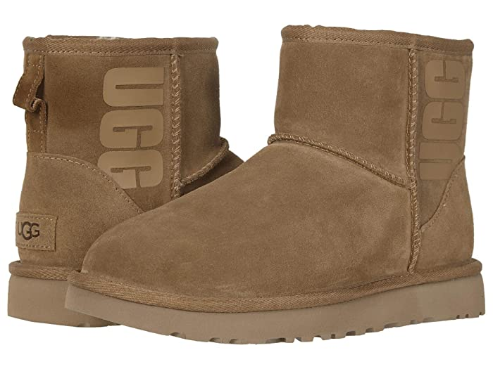 UGG  Classic Mini Rubber Logo (Chestnut) Womens Cold Weather Boots