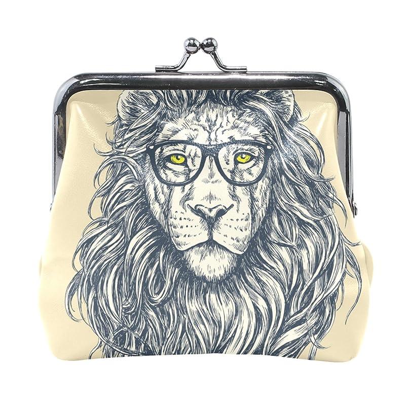 帽子手書き検出AOMOKI 財布 小銭入れ ガマ口 コインケース レディース メンズ レザー ライオン 優しい 眼鏡