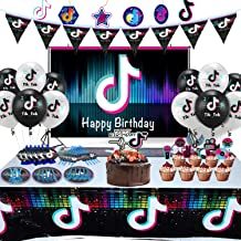 30-Count Tik Tok Birthday Party Supplies 7 inch Tik Tok Party Plates