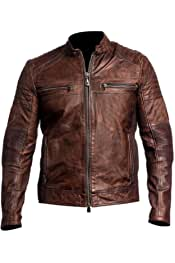FSSE Mens Thicken Outdoor Pu Leather Hooded Faux Fur Lined Winter Motorcycle Coat Jacket