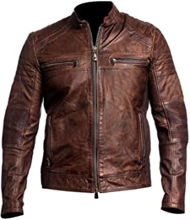 AKMAK Men's Biker Cafe Racer 1 Brown Motorcycle Vintage Retro Real Leather Jacket