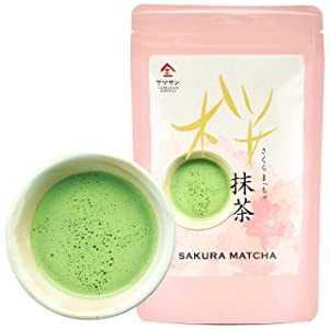 Matcha Green Tea Powder with Cherry Blossom Tea, Japanese Drinks, Japanese Food, Culinary Grade, 100g【YAMASAN】