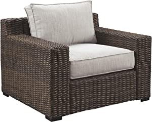 Ashley Furniture Signature Design - Alta Grande Outdoor Lounge Chair with Cushion - Beige & Brown