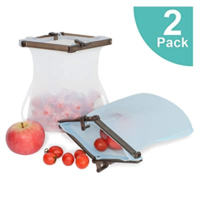 Silicone Reusable Bags for Food Storage 1.5L, L...
