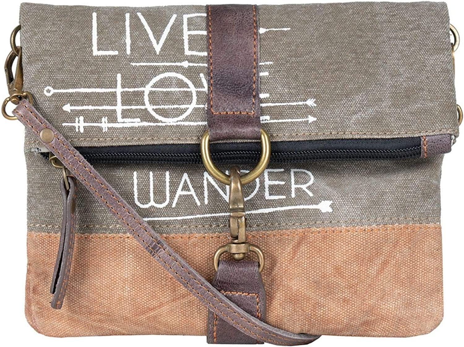 Mona B. Live Love Wander Bag Upcycled Canvas Tote Bag with Vegan Leather Trim