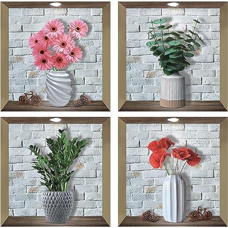 4 Pcs Stickers Muraux 3D Vase,Autocollant Muraux de Plante 3D,Sticker Mural Vases,Autocollant Mural de Fleurs,Sticker de Feuille Verte pour Décoration Murale de Salon,DIY Amovibles Vase Autocollant