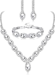 Thunaraz Crystal Bridal Jewelry Set Crystal Necklace and Earrings with Crystal Bracelet for Women Jewelry Set Gifts fit