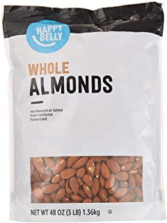Amazon Brand - Happy Belly Whole Raw Almonds, 48 Ounce
