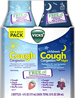 Vicks Children's Cough & Congestion Relief, Free of Dyes & Flavors, Combo: Non-DROWSY Berry 6 oz & Nighttime Grape 6 oz