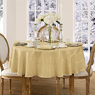 Newbridge Elegance Plaid Christmas Fabric Tablecloth, 100% Polyester, No Iron, Soil Resistant Holiday Tablecloth, 60 Inch x 84 Inch Oval, Ribbon Gold