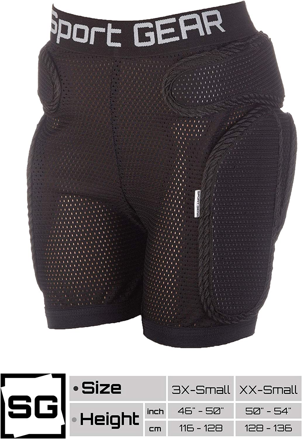 """54/"""" in Height 3D Protection Hip Pants for Inline Skating Recruit Padded Shorts for Kids 46/"""" Skateboarding"""