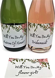 16 Mini champagne labels for bridesmaids, maid of honors, matron of honors. 16 Mini Champagne labels to ask bridal party. Proposal ideas for bridesmaids, maid of honor, matron of honor & flower girls.