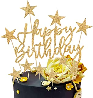 Or Happy Birthday Cake Topper,2 Sets Gâteau Décoration d'anniversaire pour Enfants Filles Garçons Femmes Homme,Étoiles Joy...