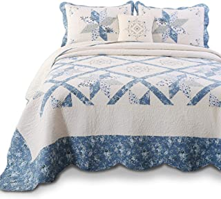 KASENTEX Luxurious Patchwork Bedspread Embroidery Coverlet 100% Cotton Quilt Machine Washable Oversize King(Blue, 120x118in)
