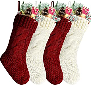 Kunyida Pack 4, Unique Burgundy and Ivory White Knit Christmas Stockings 14