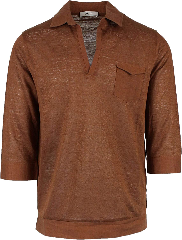 ALPHA STUDIO Men's AU9421B6115 Brown Linen Polo Shirt
