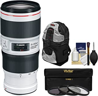 Canon EF 70-200mm f/4L is II USM Zoom Lens with Backpack + 3 Filters Kit for EOS DSLR Cameras