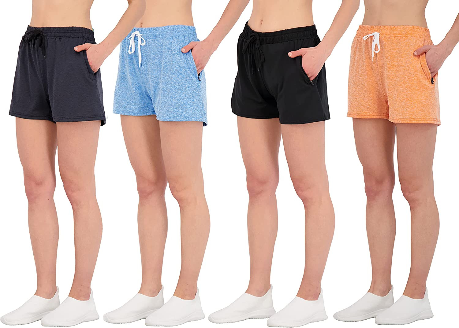 4 Pack: Womens Active Athletic Performance Dry-Fit Shorts with Zipper Pockets