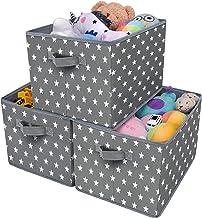 GRANNY SAYS Kid's Fabric Storage Bin Toy Storage Basket, Nursery Storage Closet Organizer Bins, Cute Star Pattern, Dark Gr...