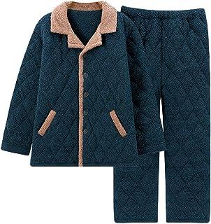 HUOFEIKE Men's Soft Warm Pyjamas 2-Set Slim Fit, Comfortble Coral Fleece Nightwear Sleepwear for Men Winter Lounge Wear wi...