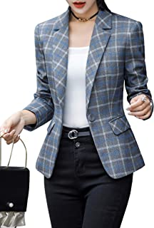 ZingineW Women's Blazer with 3/4 Sleeves Jacket One Button Office Cardigan Casual Plaid Blazers