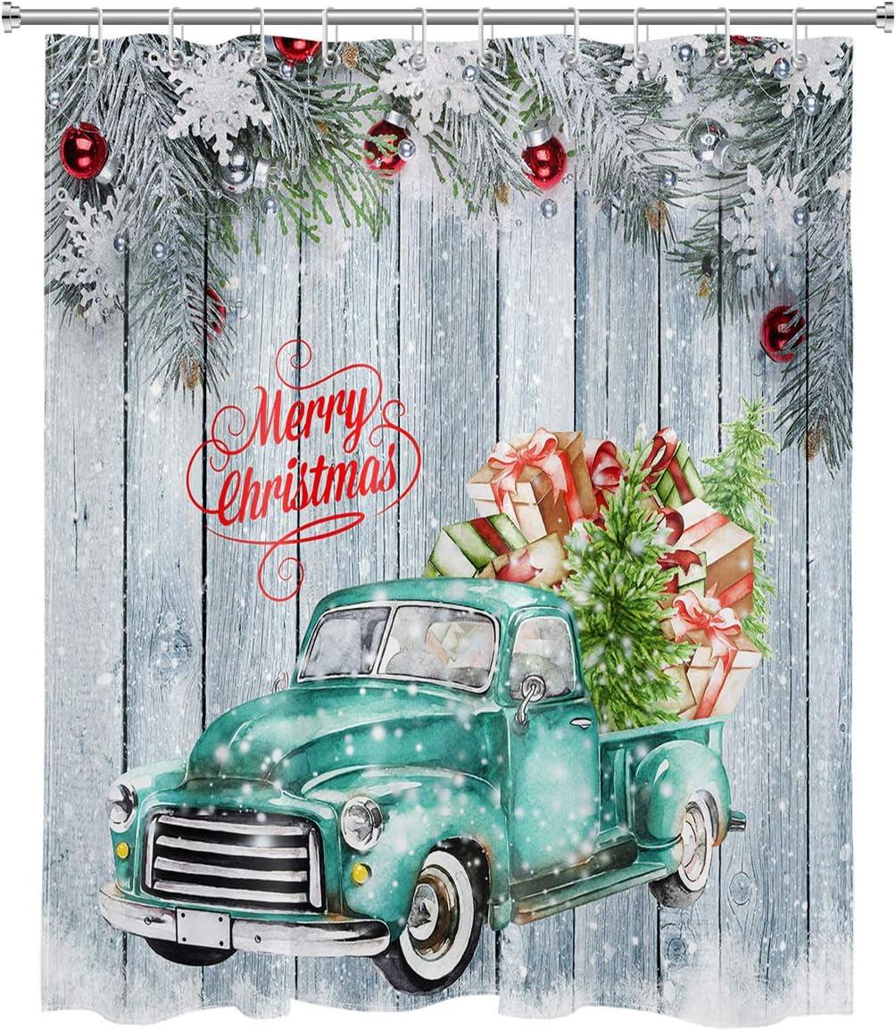 HVEST Christmas Ranking TOP10 Winter Luxury Shower Curtain Retro Green Vintage Truck