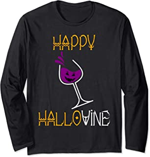 Funny Halloween Alcohol Ghost Booze Wine Lover Gag Gift Long Sleeve T-Shirt