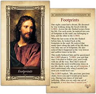 Footprints Laminated Holy Card - Pack of 25