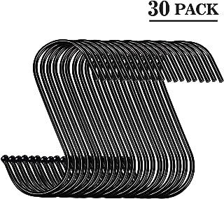 30 Pack Black S Hooks Steel S Hanging Hooks Heavy Duty S Hanger Hook Metal Kitchen Pot Rack Hooks Closet Hooks Plants Hooks for Hanging Pot, Pan, Cups, Plants, Bags, Jeans, Towels