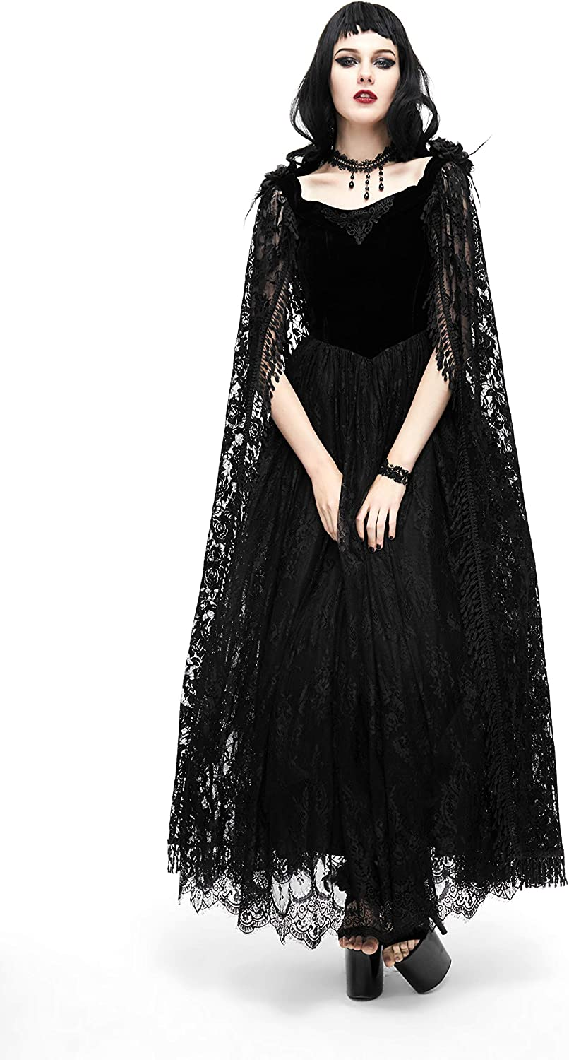 Blackmasksu Gothic Dinner Long Dress for Women Lace Skirt Slim Suture Formal Evening Party Clothing for Ladies