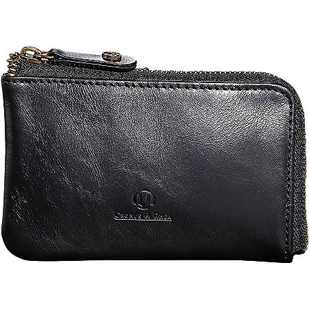 Cronus & Rhea® | Luxury Key Case Made of Exclusive Leather (Aeacus) | Key Ring - Key Case - Key Holder | Real Leather | with Elegant Gift Box | Men - Women (Black)