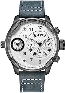 JBW Luxury Men's G3 16 Diamonds Two Time Zone Leather Watch