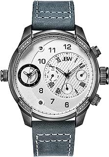 JBW Luxury Men's G3 16 Diamonds Two Time Zone Leather Watch