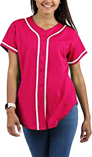 Ma Croix Womens Made in USA Premium Baseball Button Down Jersey Short Sleeve Tee Active Softball Shirt