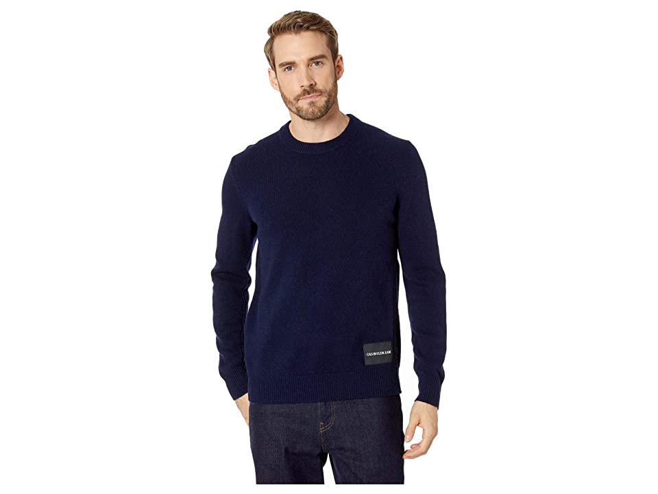 Calvin Klein Jeans Lambswool Pullover with Logo Patch (Peacoat) Men