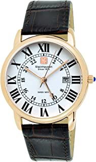 Steinhausen Men's Stainless Steel Watch with Black Leather Band - Classic Delémont Swiss Quartz