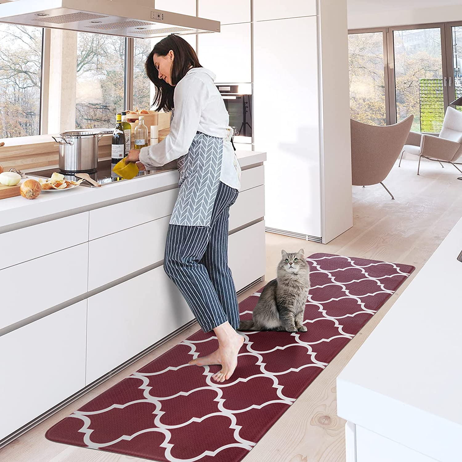 Carvapet Moroccan Large special price Trellis Kitchen Discount mail order Mat Non-Slip Rugs Waterproof C