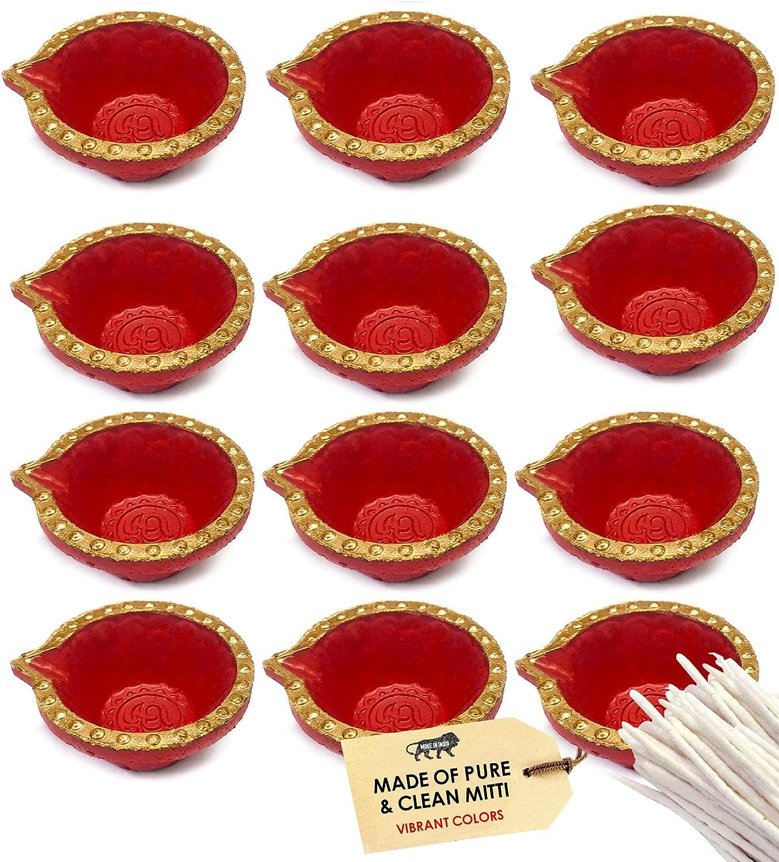SATVIK 12 Pc Set Clay Diya Diwali Ranking TOP3 Wicks with for Ranking TOP7 Cotton Puja Dia