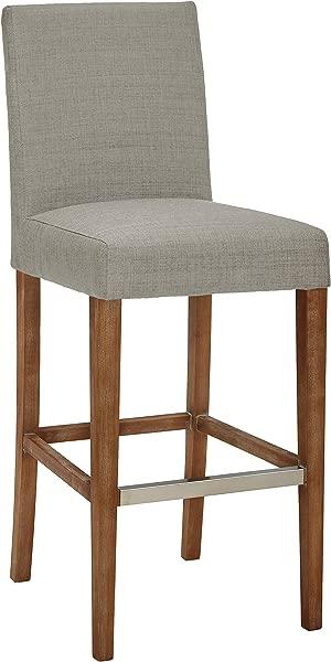 Stone Beam Hartford Modern Denim Fabric Kitchen Countertop Bar Stool 45 Inch Height Brushed Smoke Legs Dove Grey